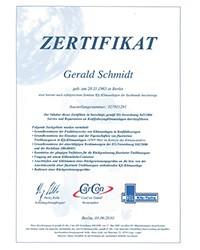 EG Verordnung 842/2006: Zertifikat Klimaanlagen