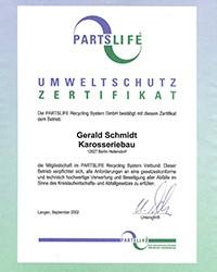 Partslife-Umweltschutz-Zertifikat