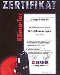Berner-Zertifikat-Kfz-Klimaanlagen